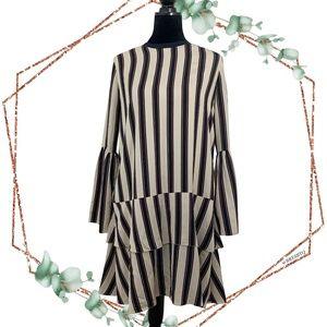 Norr Tara Bordeaux Layered pinstriped dress Large